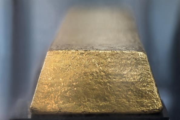 Photo of the gold ingot in Danmarks Nationalbank