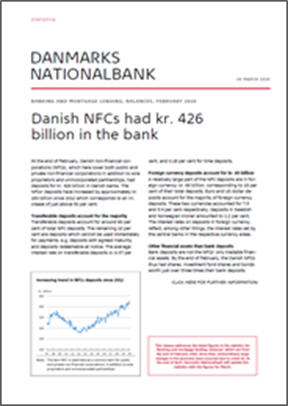 Statistics News, February 2020 - Danish NFCs had kr. 426 billion in the bank