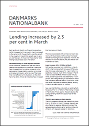 Lending increased by 2.3 per cent in March