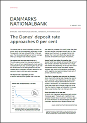 The Danes' deposit rate approaches 0 per cent