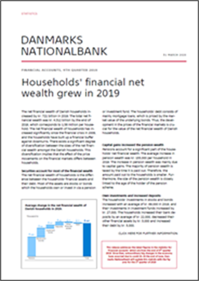 Statistics News, 4th quarter 2019 - Households' financial net wealth grew in 2019
