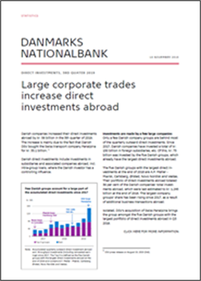 Large corporate trades increase direct investments abroad