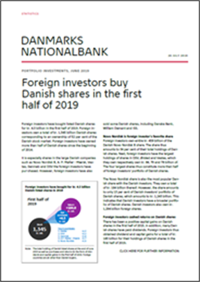 Foreign investors buy Danish shares in the first half of 2019
