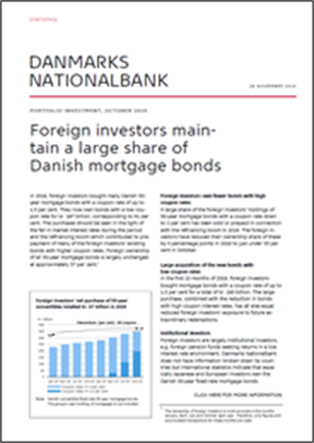 Foreign investors maintain a large share of Danish mortgage bonds