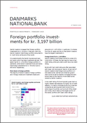 STATISTICS NEWS, FEBRUARY 2020 - Foreign portfolio investments for kr. 3,197 billion